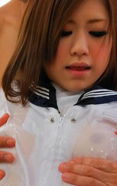 Japanese Schoolgirl Creampie - Rin Saotome Asian with oiled body has shaved poonanie fingered
