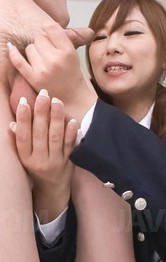 Asian Amateur Schoolgirl - Miku Airi Asian in uniform strokes and sucks cock till gets cum