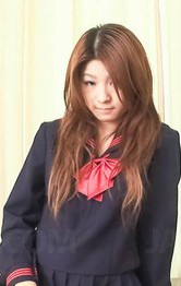 Japanese School Girl Threesome - Maya Asian rubs her wet vagina under uniform in front of mirror