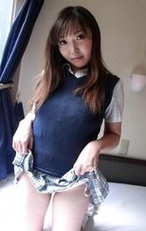 Japanese School Girl Nurse - Haruka Ohsawa Asian in uniform shows her big nude bazoom bas