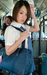 Japanese Schoolgirl Stockings - Yuna Satsuki Asian has firm cans touched and sucks dicks in bus