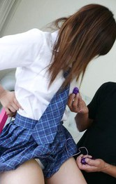 Asian Schoolgirl Gangbang - Miku Airi Asian has vibrators on tits and twat and sucks boner