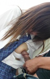 Hot Asian School Porn Models - Miku Airi Asian has vibrators on tits and twat and sucks boner