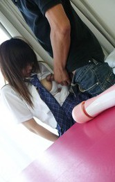 Japanese School Girl Bukkake - Miku Airi Asian has vibrators on tits and twat and sucks boner