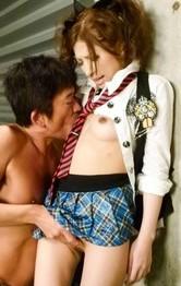 Asian Schoolgirl Nurse - Tsubasa Aihara Asian with round naughty boobs is fucked in peach