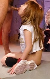 Japanese Schoolgirl Creampie - Sana Anzyu Asian hanging has nipples squeezed and sucks shlong