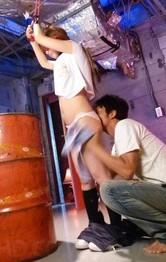 Asian Schoolgirl Porn - Sana Anzyu Asian hanging has nipples squeezed and sucks shlong