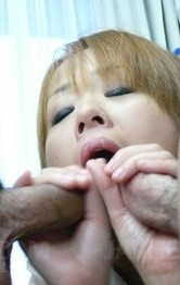 Japanese School Girl Double Penetration - Karen Yuuki Asian with tie on hot tits shows cum after blowjobs