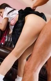 Japanese Schoolgirl Porn Videos - Ai Wakana Asian has dark crack fucked with fingers and sucks tool