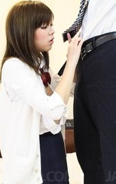 Asian Schoolgirl Double Penetration - Mao Miyazaki Asian has one boob fondled while she sucks shlong