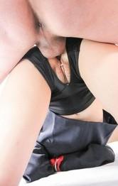 Japanese School Porn - Yuri Sakurai is double teamed by shlongs she sucked and licked