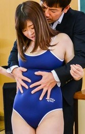 Japanese Shaved Schoolgirl - Kaho Asian is undressed of bath suit, sucks cock and is nailed