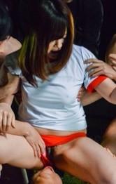Asian Schoolgirl Masturbation - Kaho Asian has slit licked under panties and sucks cocks outdoor